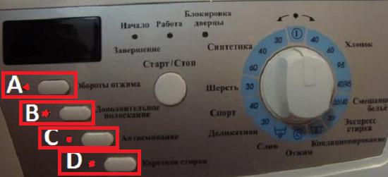 Считать код ошибки на стиральной машине Hansa по индикаторам